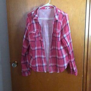 Maurice's pink plaid button down shirt